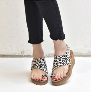 White Leopard Print Comfy Orthopedic Bunion Sandals